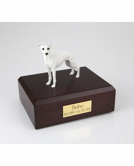White Whippet Dog Figurine Pet Cremation Urn - 893