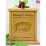 Whitetail Buck Relief Carved Engraved Wood Cremation Urn - 3