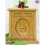 Whitetail Buck Relief Carved Engraved Wood Cremation Urn