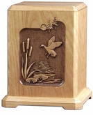 Wildlife Scene Laser Carved Cherry Wood Cremation Urn