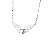 Winged Heart Sterling Silver Cremation Jewelry Pendant Necklace