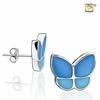 Wings of Hope Blue Enamel Rhodium Plated Stud Earrings