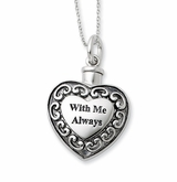 With Me Always Heart Antiqued Sterling Silver Cremation Jewelry Necklace