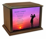 Woman Golfer Eternal Reflections Wood Cremation Urn - 3 Sizes
