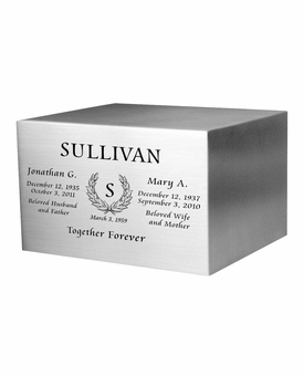 Wreath Engraved Companion Satin Stainless Steel Cremation Urn