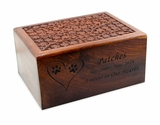 X-Large Carved Sheesham Wood Pet Cremation Urn