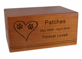 X-Large Economy Mahogany Wood Pet Cremation Urn