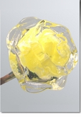 Yellow Eternal Bloom Cremains Encased in Glass Cremation Long Stem Rose