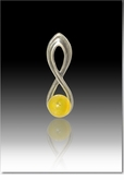 Yellow Harmony Cremains Encased in Glass Sterling Silver Cremation Jewelry Pendant
