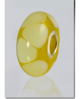 Yellow Lasting Memory Bead Cremains Encased in Glass Cremation Jewelry