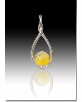 Yellow Melody Twist Cremains Encased in Glass Sterling Silver Cremation Jewelry Pendant