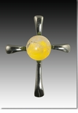 Yellow Symphony Cross Cremains Encased in Glass Sterling Silver Cremation Jewelry Pendant