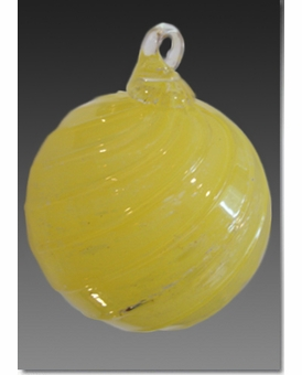 Yellow Timeless Sphere Cremains Encased in Glass Cremation Ornament
