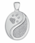 Yin Yang Buddies 3D Pet Paw Print / Nose Print Sterling Silver Memorial Grand Pendant