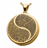 Yin Yang Fingerprint Round Solid 14k Gold Memorial Cremation Pendant Necklace