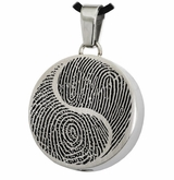 Yin Yang Fingerprint Round Stainless Steel Memorial Cremation Pendant Necklace