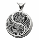 Yin Yang Fingerprint Round Sterling Silver Memorial Cremation Pendant Necklace