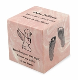 Your Child's Prints Pink Small Cube Infant Cremation Urn - Engravable