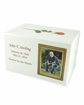 Your Color Photo in Frame Eternal Reflections II White Finish Cremation Urn