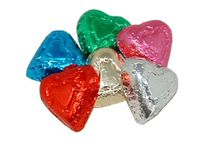 Milk Chocolate Rainbow Foil Hearts - 1/2 lb.