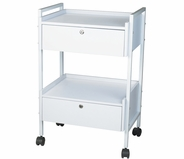 Dante + Trolley Table 2 Locking Drawers - Silver Fox 1019
