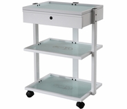 Glass Shelf Trolley Table with Locking Drawer - Silver Fox 1040A