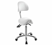 Rolling Saddle Stool with Back Support (3motion) - Silver Fox 1025A