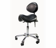 Rolling Saddle Stool with Back Support - Spa Luxe