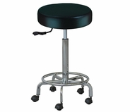 Rolling Stool with Foot Rest - Silver Fox 1023 - Back Order