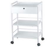 Trolley Table with Locking Drawer - Silver Fox 1019A