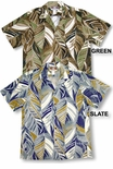 Abstract Watercolor Leaf Peached Cotton Blend Aloha Shirt