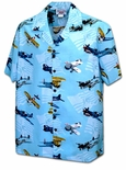 Airplanes men's made in Hawaii aloha style cotton shirt