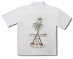 CLOSEOUT Christmas Happy Holiday Tree Embroidered Shirt