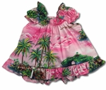 Aloha Grotto Waterfalls Girl's Puff Sleeves 2pc Set