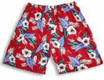 Hawaiian Aloha Hibiscus 3 pocket Cotton Shorts