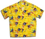 Angel Fish Rare Vintage Pineapple Juice Label 100% Rayon Shirt
