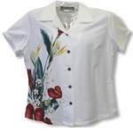 Anthurium Bouquet Womens Fitted Blouse