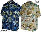 Art Designed Leaves men's cotton aloha shirt