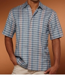 CLOSEOUT Copen Blue Plaid Men's Linen Blend Cubavera Shirt  - Only 2X Size in Stock