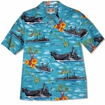 Battleships Men's Hawaiian Aloha Cotton Blend Shirt