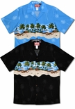 Beached Outrigger chest band mens aloha shirt