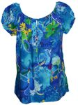 Beauteous Flower II women's short sleeve peasant blouse