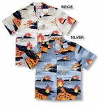 Big Island Hawaii Volcano men's Cotton aloha Shirt
