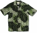 Big Monstera Leaf men's rayon aloha shirt