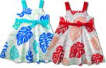 Biggest Monstera Girl's Cotton Empire Bow Dress