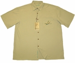 Bird of Paradise with Pocket Men's Embroidered Polynosic Rayon Polyester Resort Wear Shirt - Large Size Only