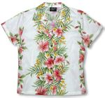 Pink White Hibiscus Plumeria Panel Womens Fitted Blouse