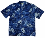 Blue Hawaii (Plumeria) men's Hawaiian shirt