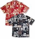 5X Bold Hawaiian Leaf mens broadcloth cotton aloha style shirt