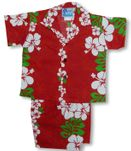 Classic Christmas Red Panel Boy's 2pc Cabana Set